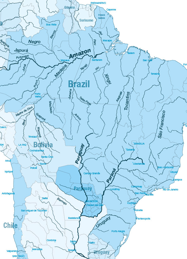 South America - Us inland waterways map