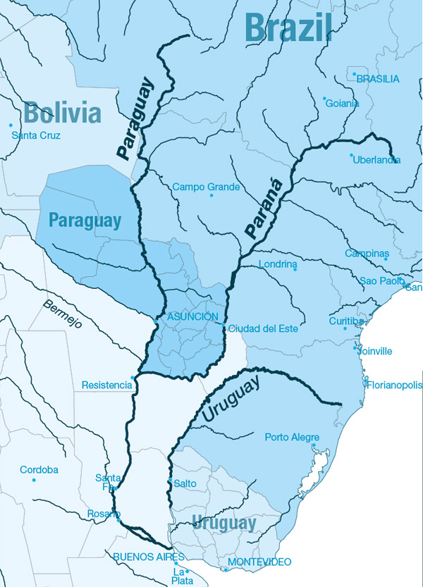 South America - Parana river map